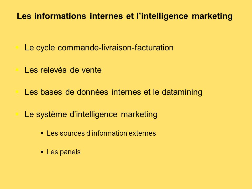 Les informations internes et l'intelligence marketing
