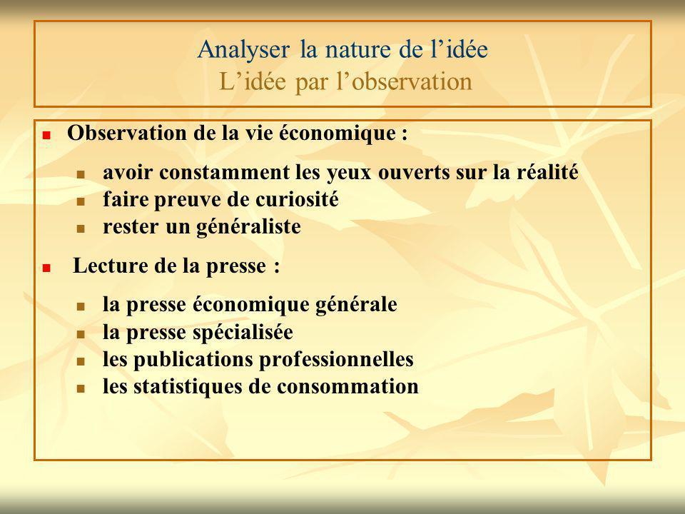 Analyser la nature de l'idée L'idée par l'observation