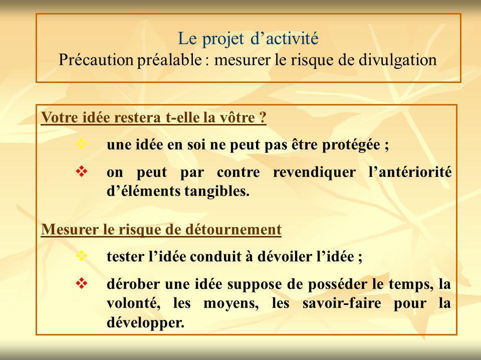 Le projet d'activité Précaution préalable : mesurer le risque de divulgation