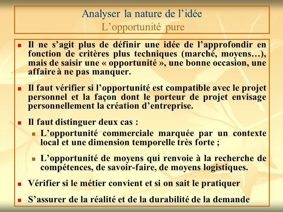 Analyser la nature de l'idée L'opportunité pure