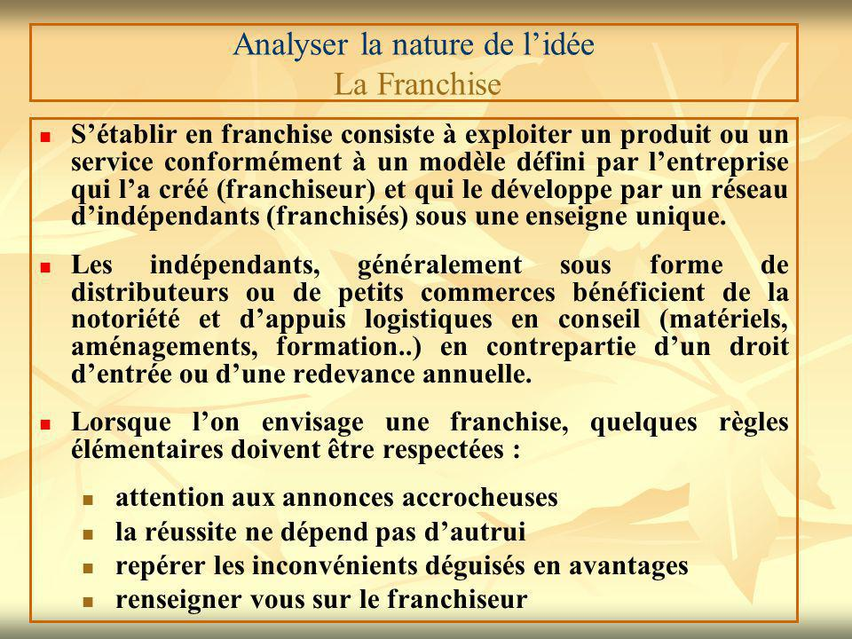 Analyser la nature de l'idée La Franchise