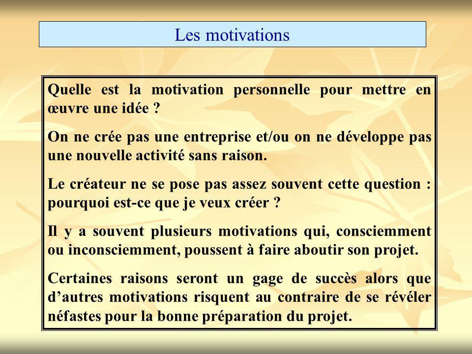 Les motivations Quelle est la motivation personnelle pour mettre en œuvre une idée