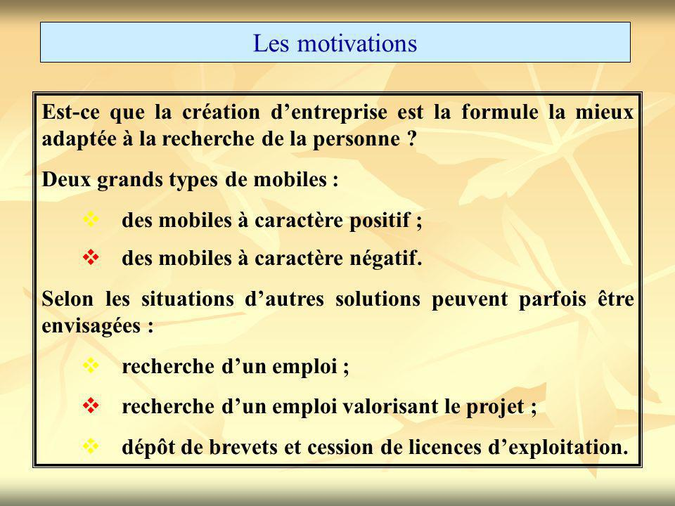 Les motivations Est-ce que la création d'entreprise est la formule la mieux adaptée à la recherche de la personne