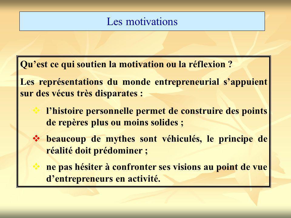 Les motivations Qu'est ce qui soutien la motivation ou la réflexion