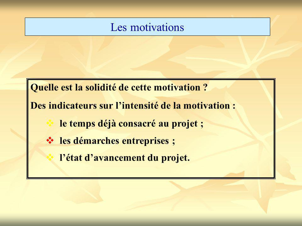 Les motivations Quelle est la solidité de cette motivation