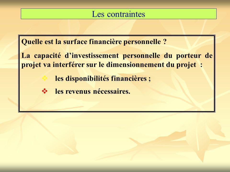 Les contraintes Quelle est la surface financière personnelle