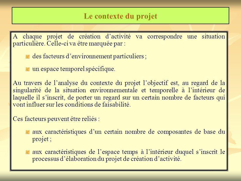 Le contexte du projet A chaque projet de création d'activité va correspondre une situation particulière. Celle-ci va être marquée par :