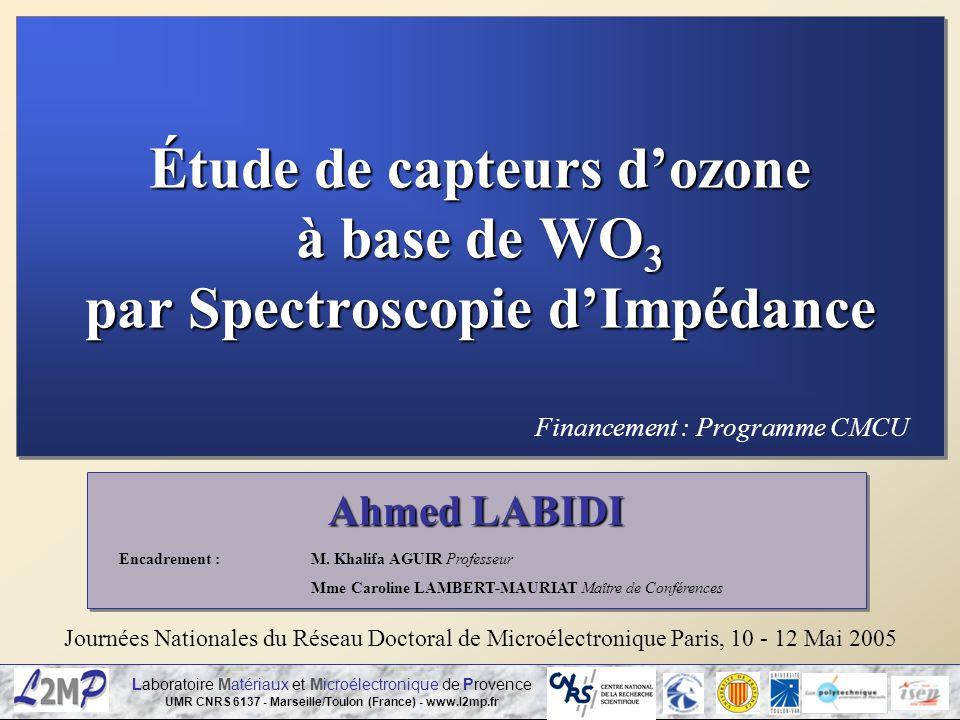 Étude de capteurs d'ozone à base de WO3 par Spectroscopie d'Impédance