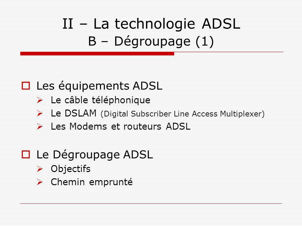 II – La technologie ADSL B – Dégroupage (1)