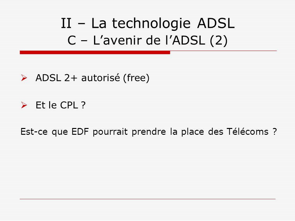 II – La technologie ADSL C – L'avenir de l'ADSL (2)