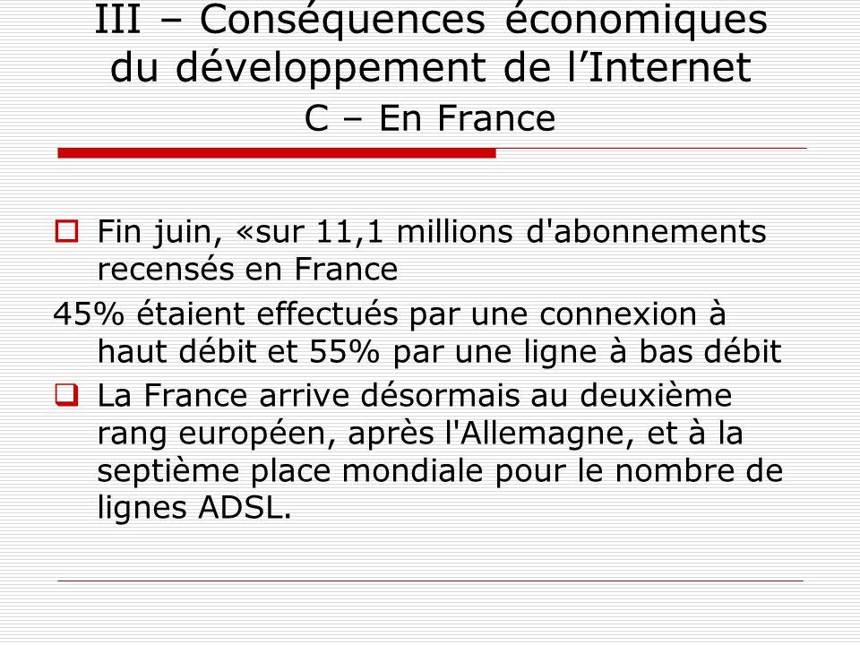 III – Conséquences économiques du développement de l'Internet C – En France