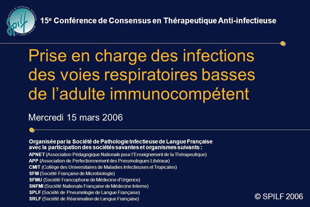 15e Conférence de Consensus en Thérapeutique Anti-infectieuse