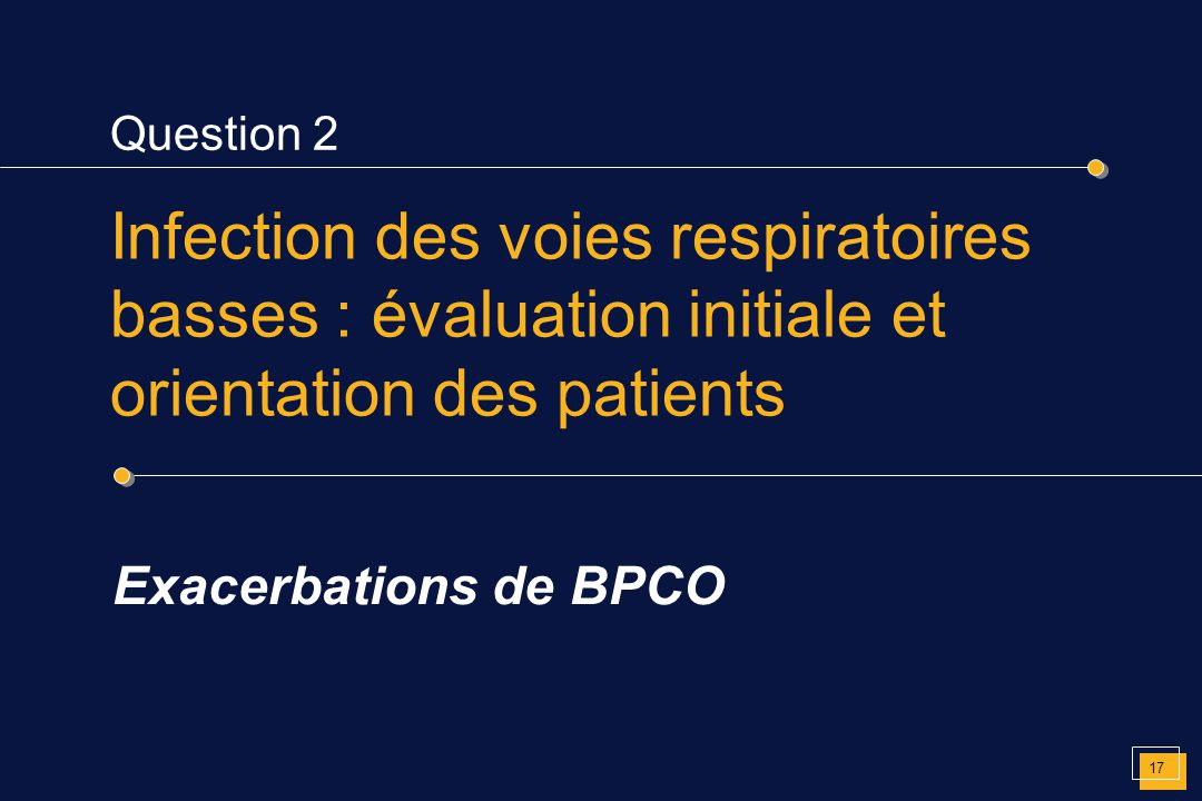 Question 2 Infection des voies respiratoires basses : évaluation initiale et orientation des patients.
