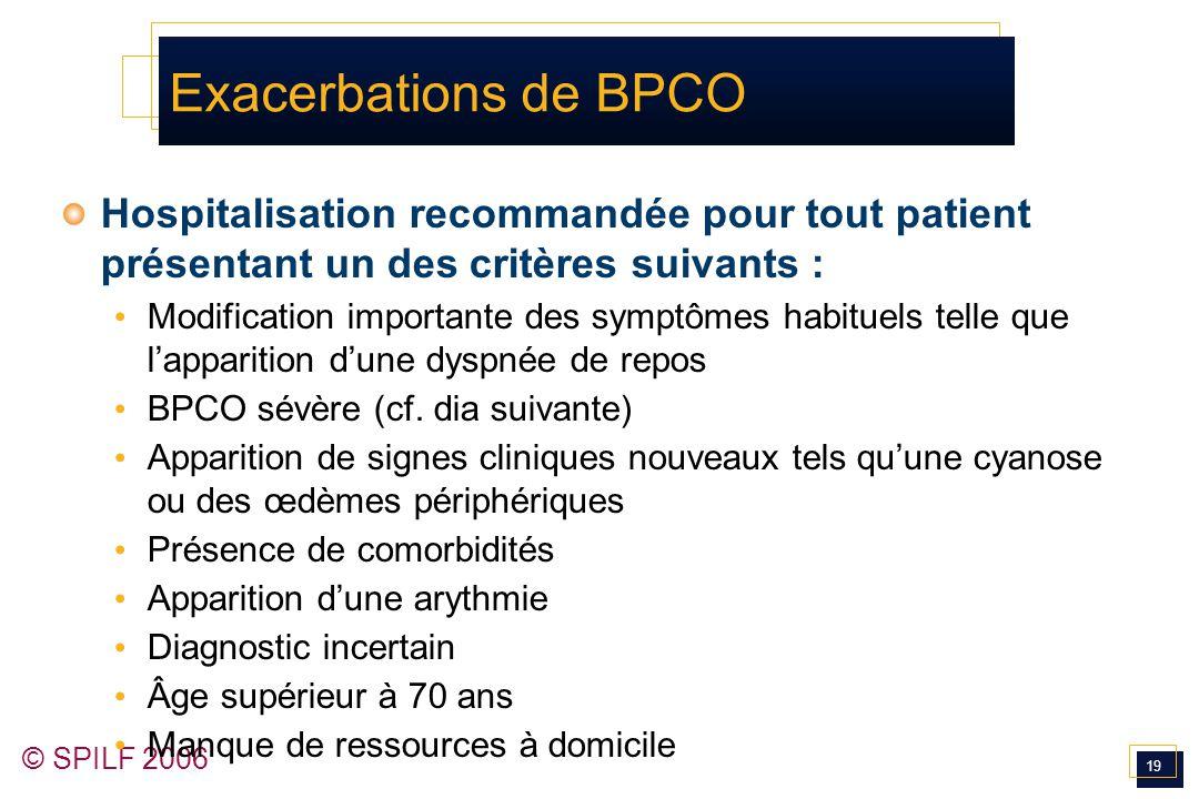 Exacerbations de BPCO Hospitalisation recommandée pour tout patient présentant un des critères suivants :