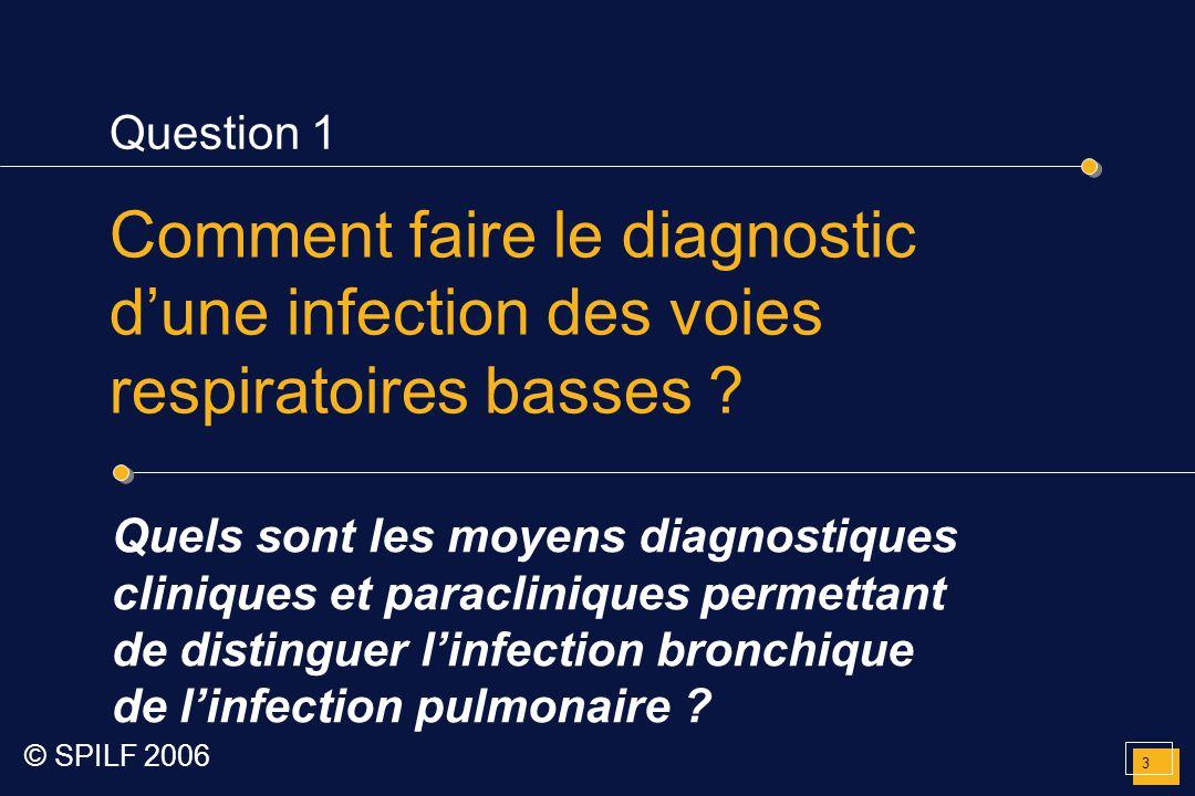 Question 1 Comment faire le diagnostic d'une infection des voies respiratoires basses