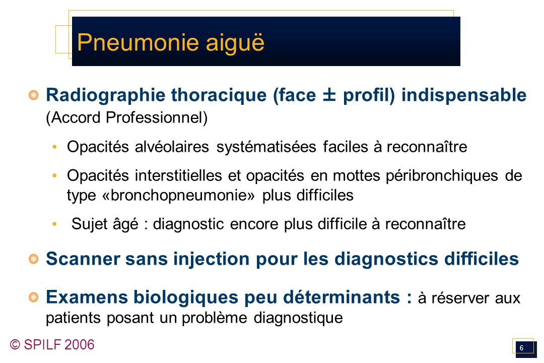 Pneumonie aiguë Radiographie thoracique (face ± profil) indispensable (Accord Professionnel)