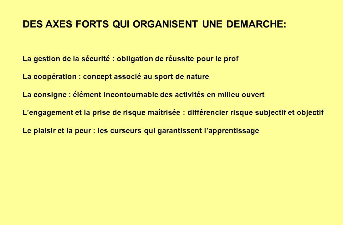 DES AXES FORTS QUI ORGANISENT UNE DEMARCHE: