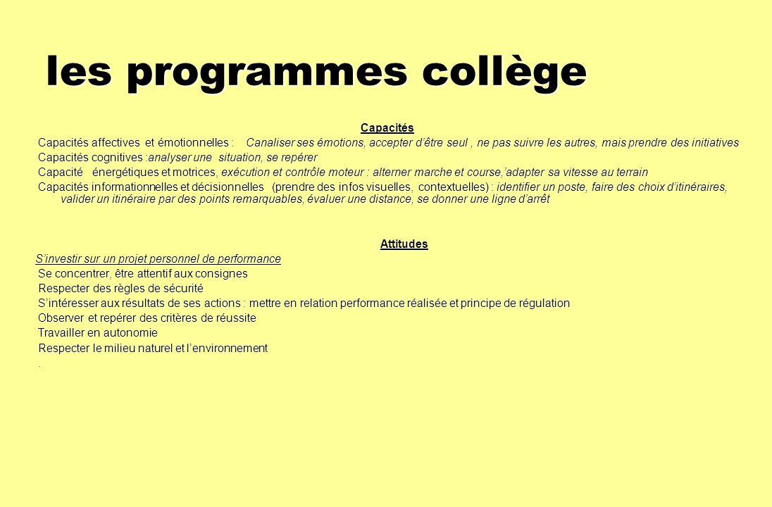 les programmes collège
