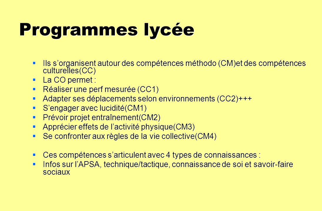 Programmes lycée Ils s'organisent autour des compétences méthodo (CM)et des compétences culturelles(CC)