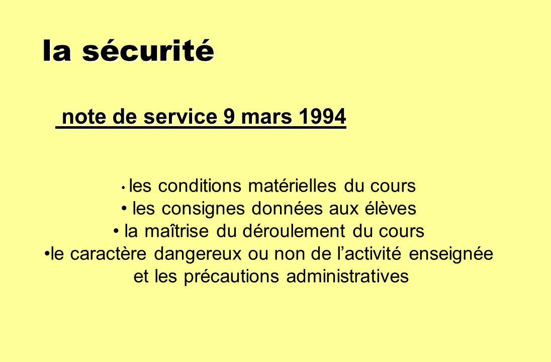 la sécurité note de service 9 mars 1994