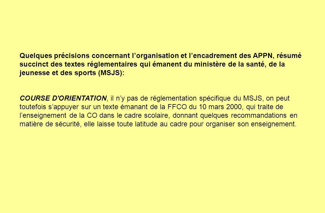 Quelques précisions concernant l'organisation et l'encadrement des APPN, résumé succinct des textes réglementaires qui émanent du ministère de la santé, de la jeunesse et des sports (MSJS):