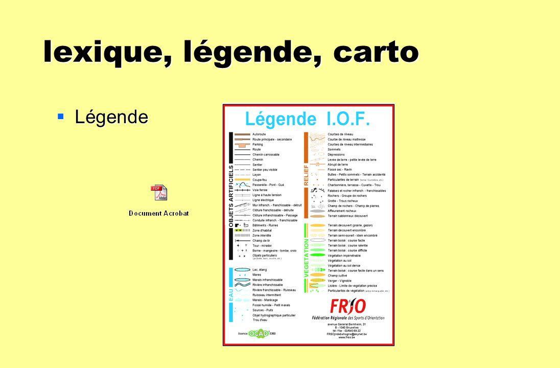 lexique, légende, carto Légende