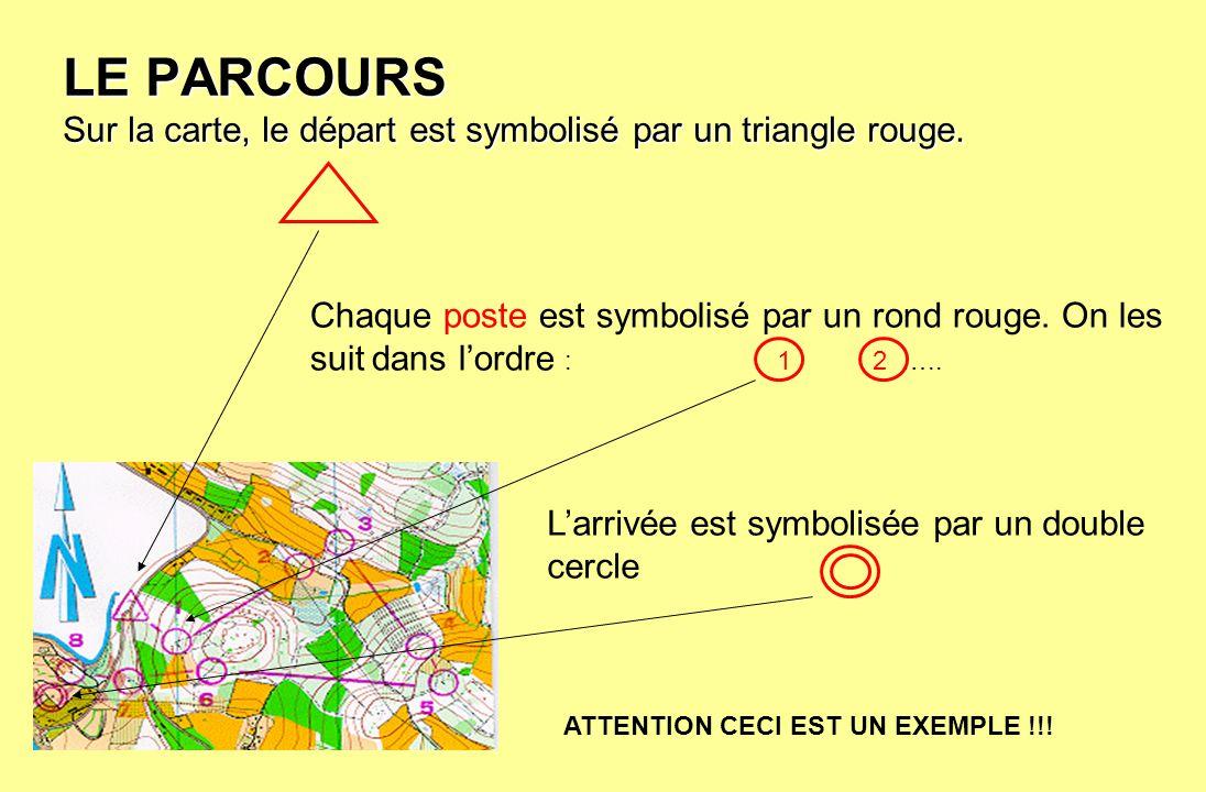 LE PARCOURS Sur la carte, le départ est symbolisé par un triangle rouge.
