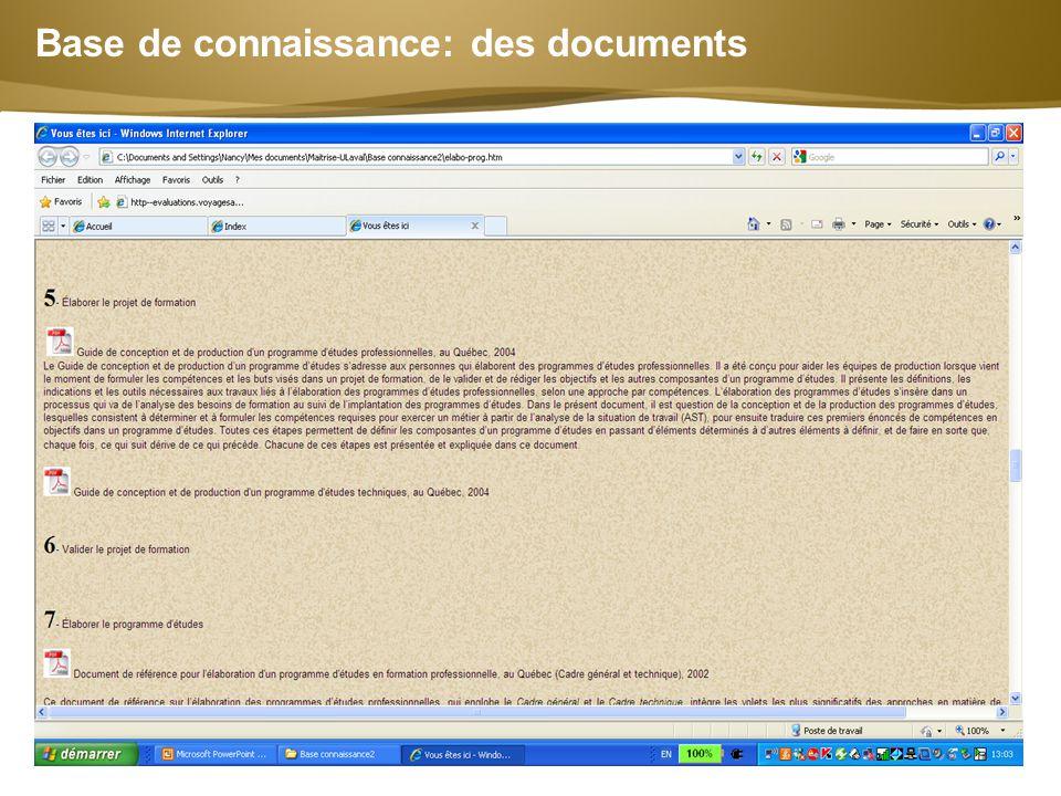 Base de connaissance: des documents