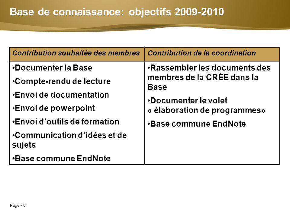 Base de connaissance: objectifs 2009-2010