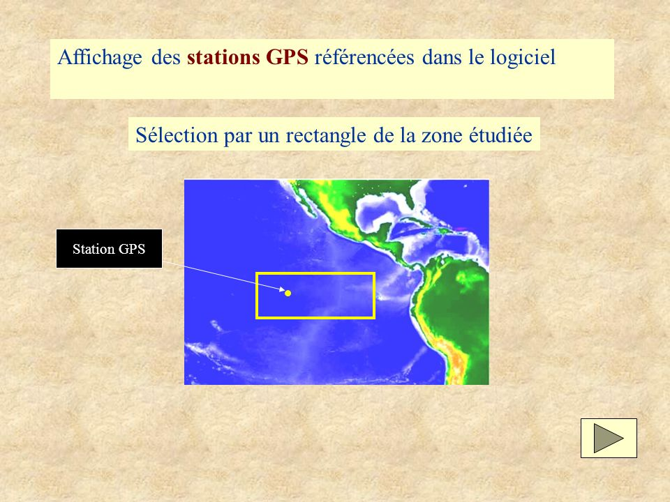 Affichage des stations GPS référencées dans le logiciel