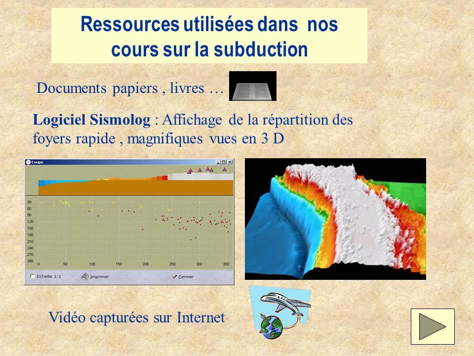 Ressources utilisées dans nos cours sur la subduction