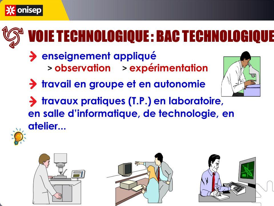 VOIE TECHNOLOGIQUE : BAC TECHNOLOGIQUE