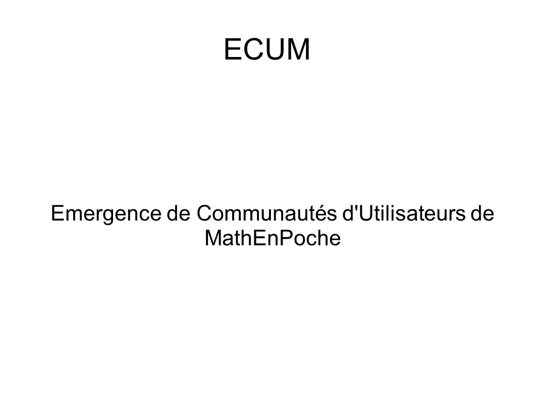 Emergence de Communautés d Utilisateurs de MathEnPoche