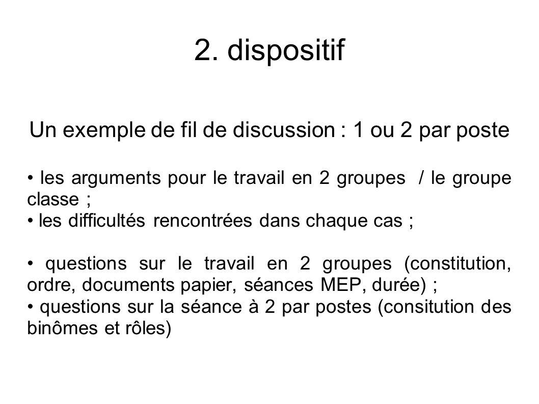 Un exemple de fil de discussion : 1 ou 2 par poste