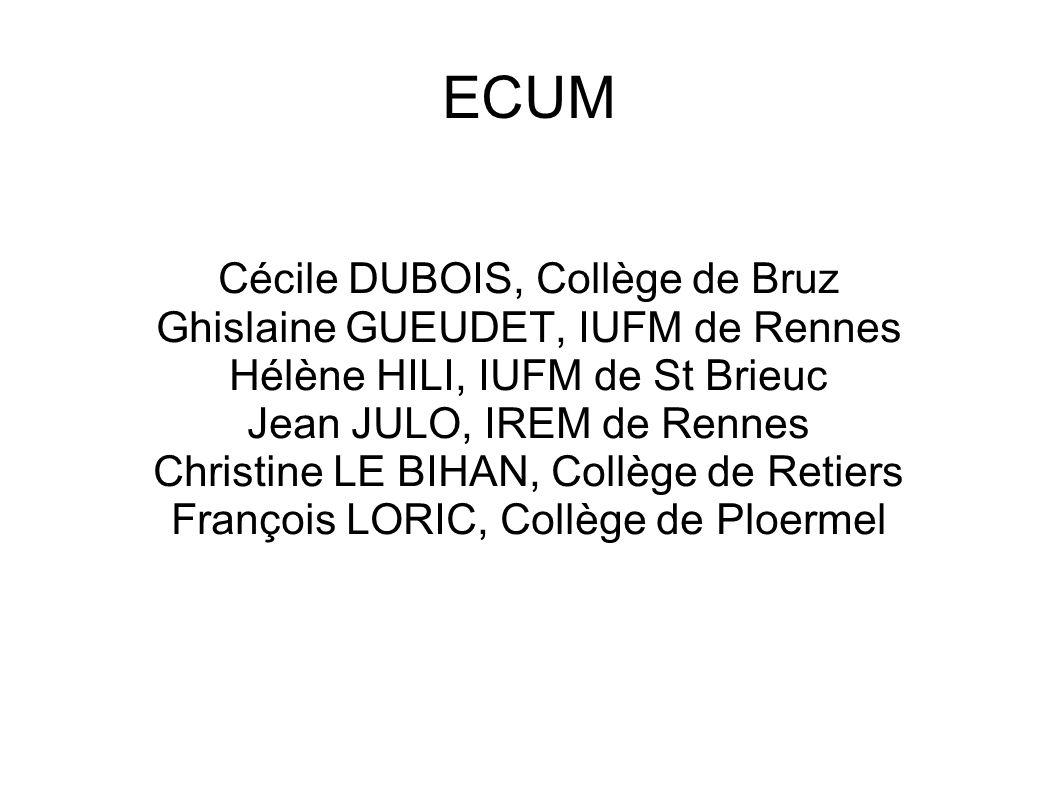 ECUM Cécile DUBOIS, Collège de Bruz Ghislaine GUEUDET, IUFM de Rennes