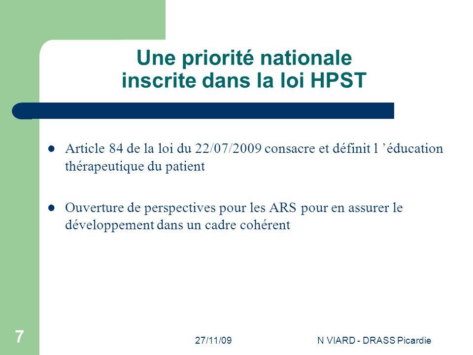 Une priorité nationale inscrite dans la loi HPST