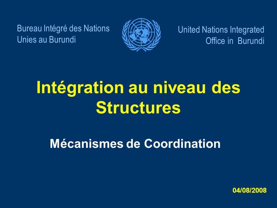 Intégration au niveau des Structures
