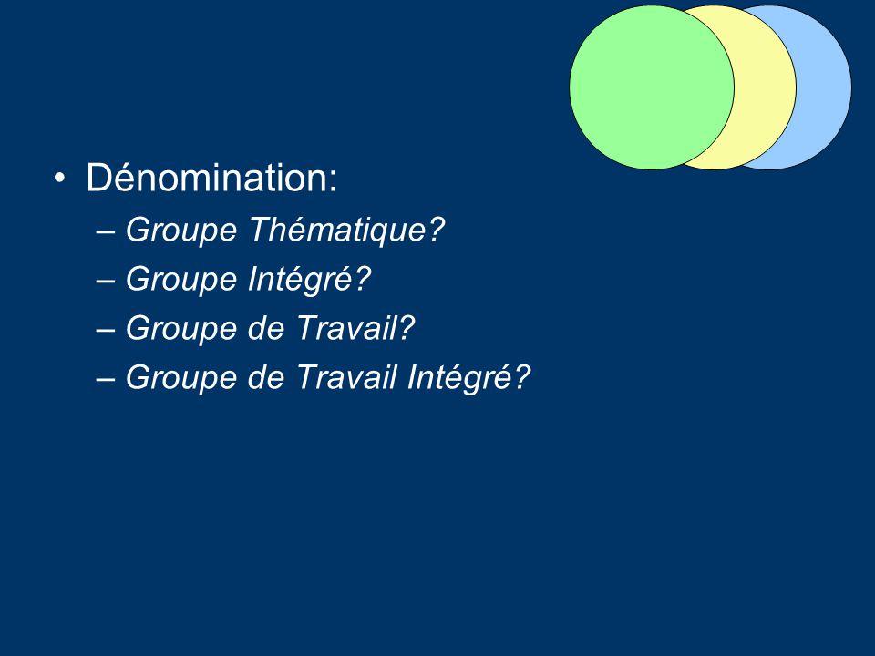 Dénomination: Groupe Thématique Groupe Intégré Groupe de Travail