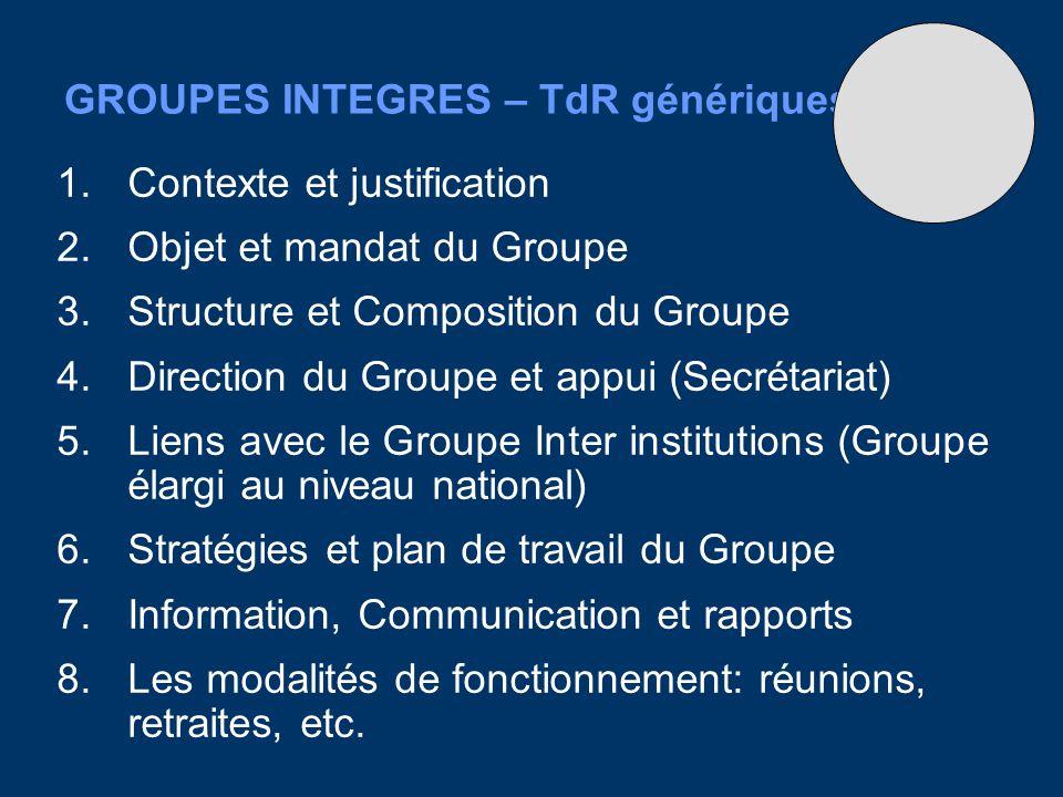 GROUPES INTEGRES – TdR génériques