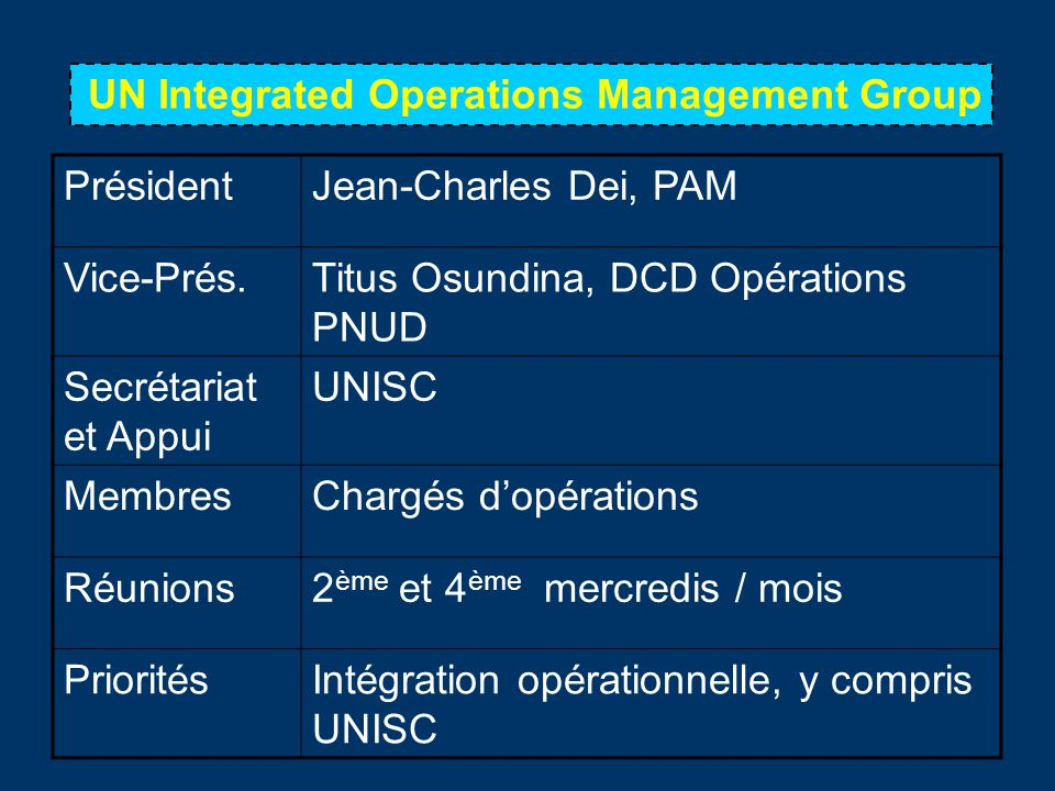 UN Integrated Operations Management Group