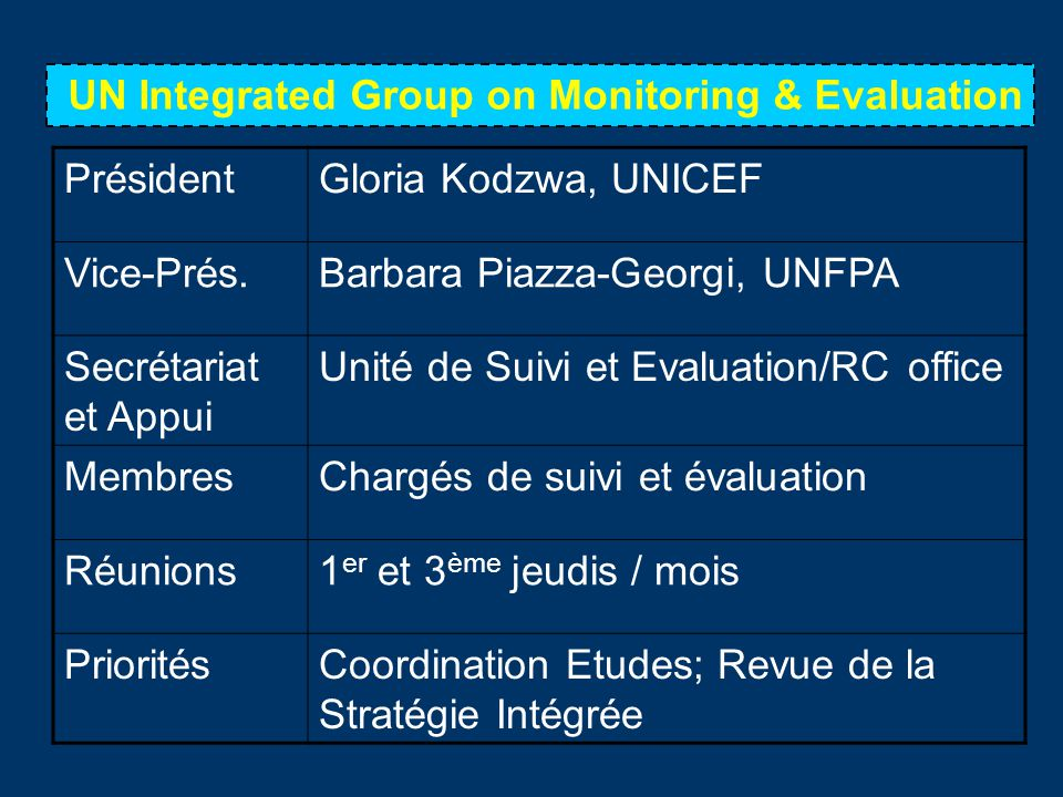 UN Integrated Group on Monitoring & Evaluation