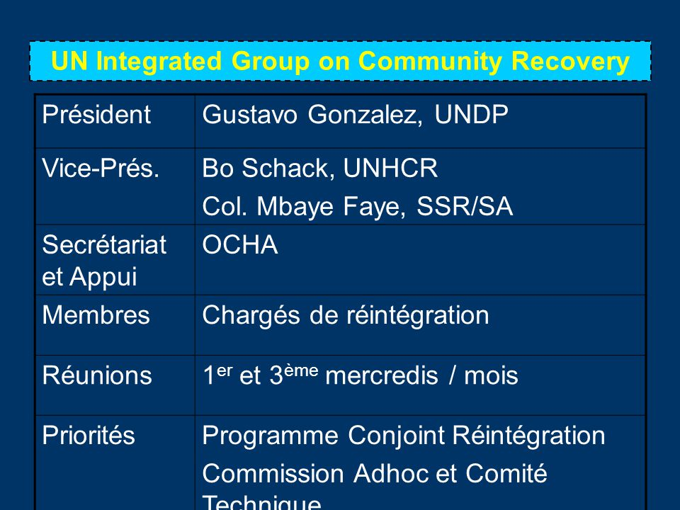 UN Integrated Group on Community Recovery