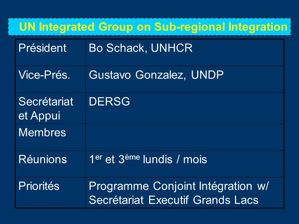 UN Integrated Group on Sub-regional Integration