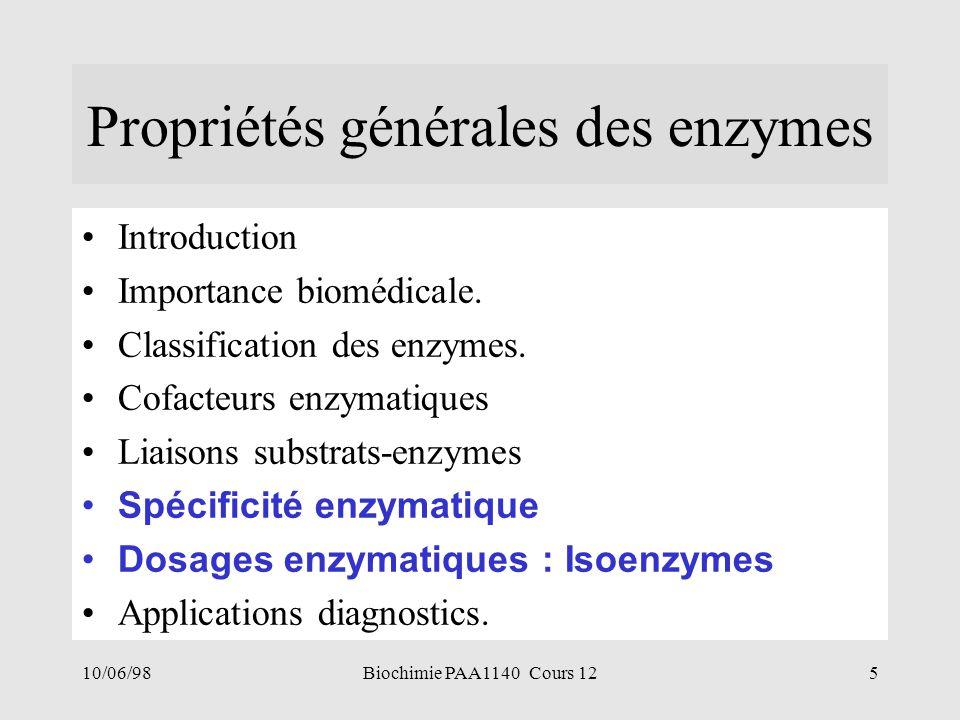 Propriétés générales des enzymes