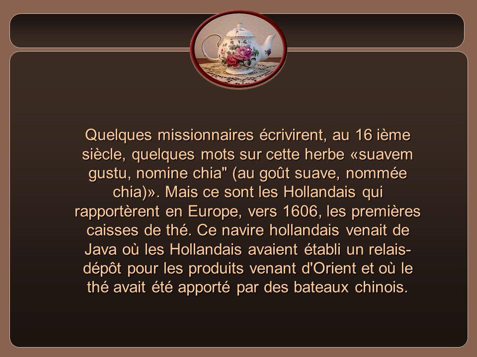 Quelques missionnaires écrivirent, au 16 ième siècle, quelques mots sur cette herbe «suavem gustu, nomine chia (au goût suave, nommée chia)».