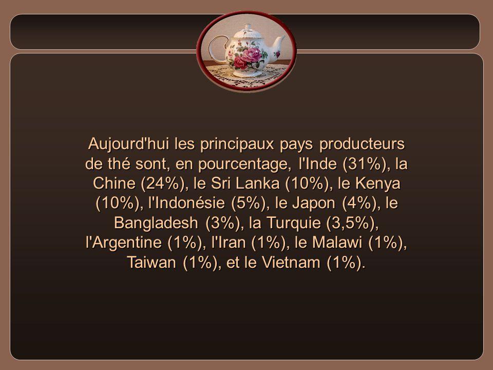 Aujourd hui les principaux pays producteurs de thé sont, en pourcentage, l Inde (31%), la Chine (24%), le Sri Lanka (10%), le Kenya (10%), l Indonésie (5%), le Japon (4%), le Bangladesh (3%), la Turquie (3,5%), l Argentine (1%), l Iran (1%), le Malawi (1%), Taiwan (1%), et le Vietnam (1%).