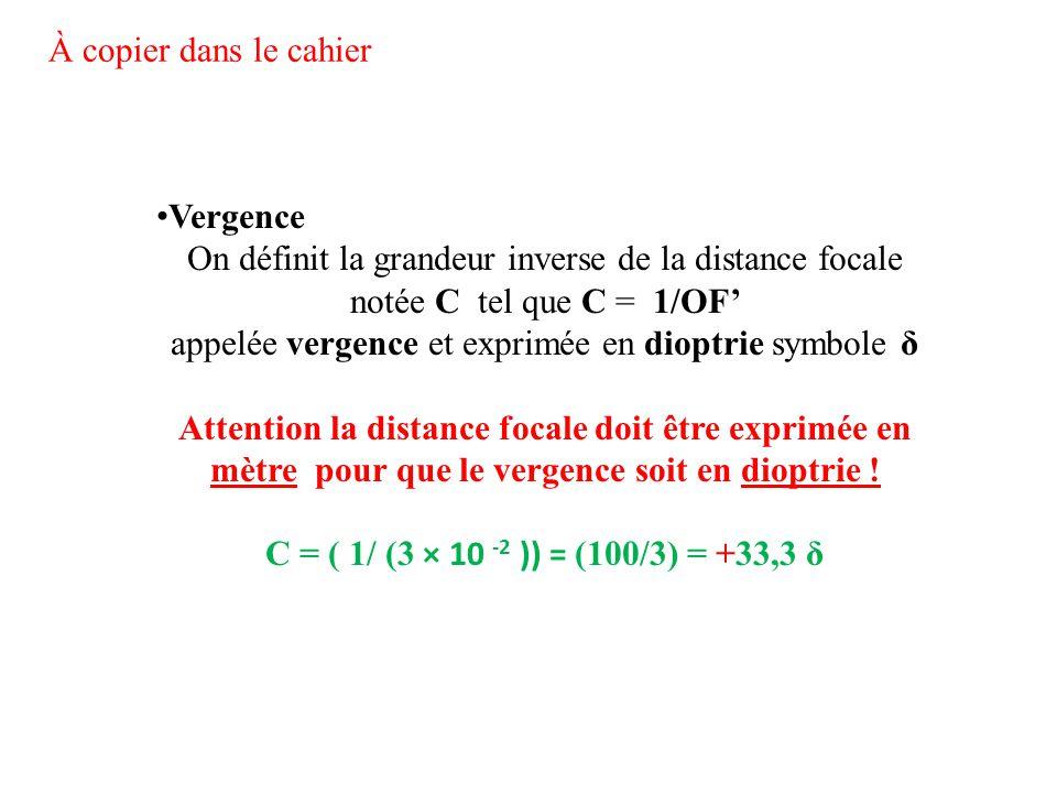 On définit la grandeur inverse de la distance focale