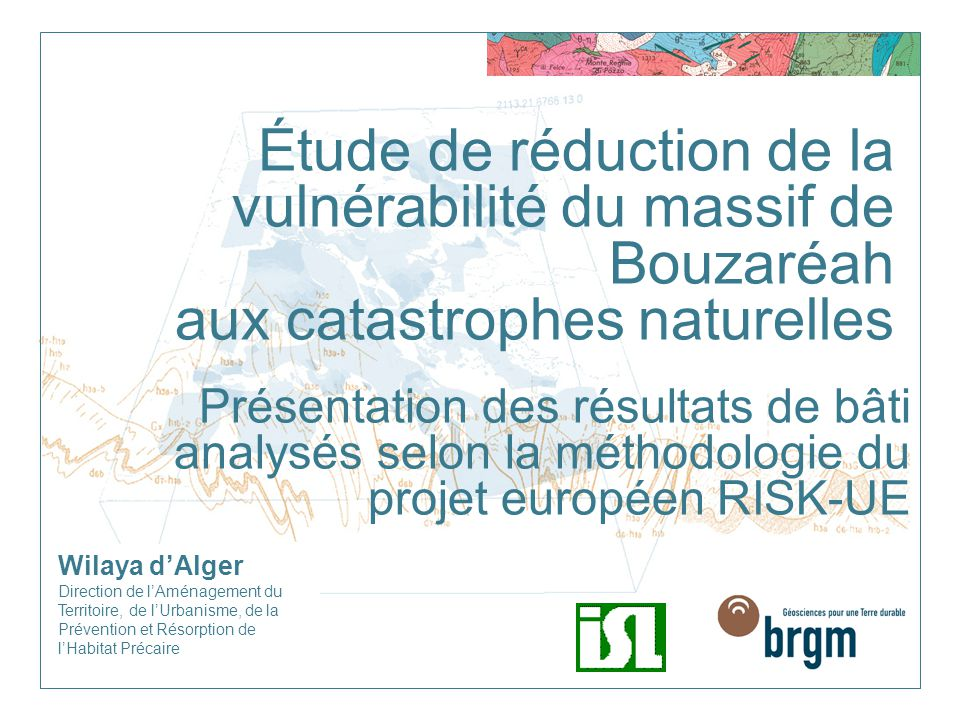 Étude de réduction de la vulnérabilité du massif de Bouzaréah aux catastrophes naturelles
