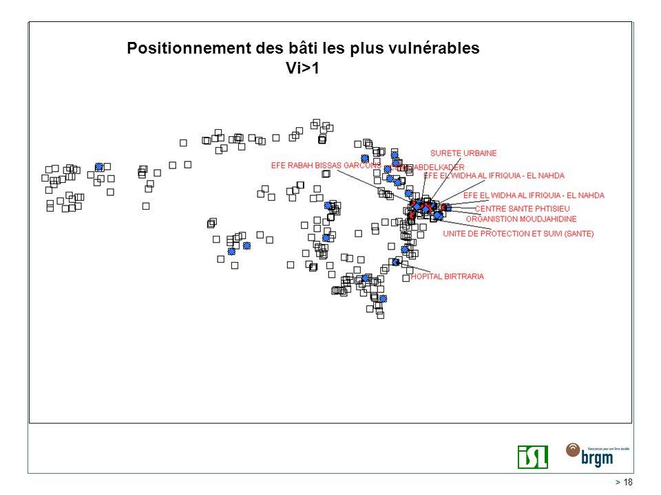 Positionnement des bâti les plus vulnérables Vi>1