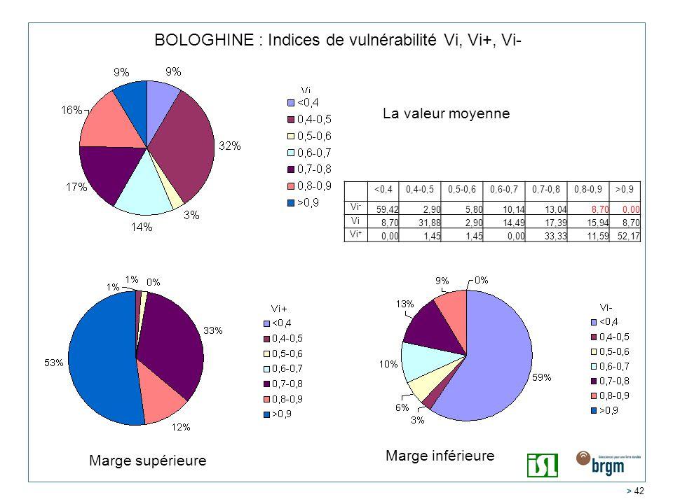 BOLOGHINE : Indices de vulnérabilité Vi, Vi+, Vi-
